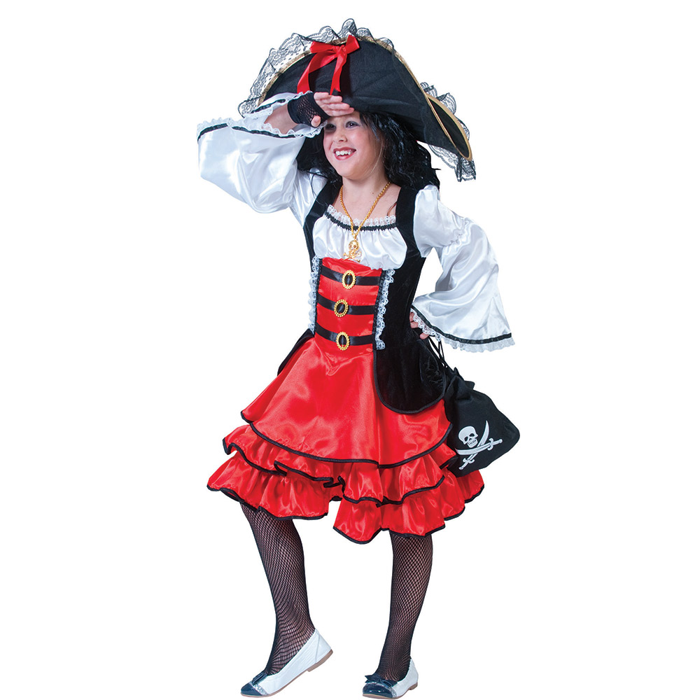 piraten kost m m dchen kinder piratin kleid fasching kind. Black Bedroom Furniture Sets. Home Design Ideas