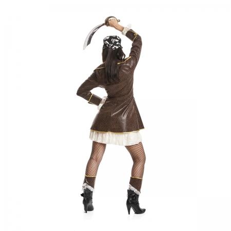 sexy piraten kost m damen kleid mit mantel braun kost mplanet. Black Bedroom Furniture Sets. Home Design Ideas