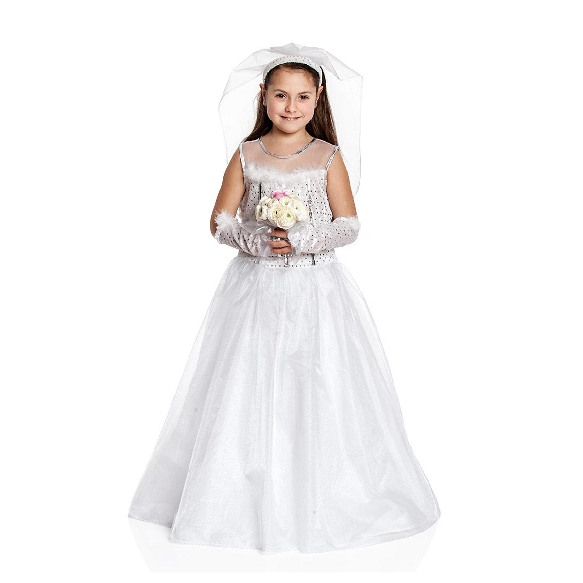 Braut Kostüm mit Schleier Kinder Mädchen Traum weiß | Kostümplanet®