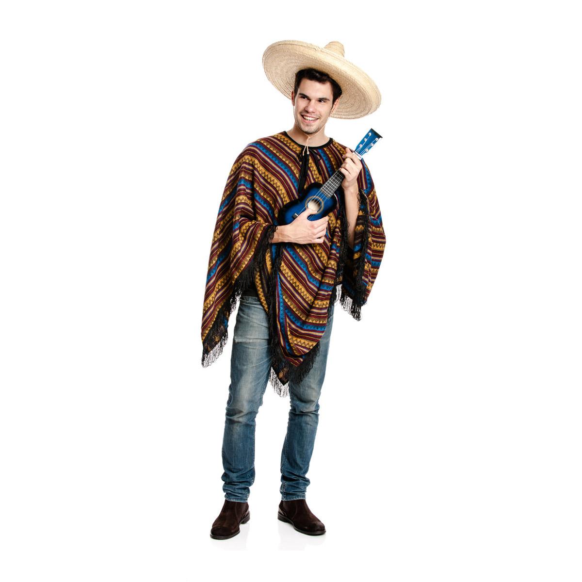 poncho mexikaner kost m herren bequem verkleidet. Black Bedroom Furniture Sets. Home Design Ideas