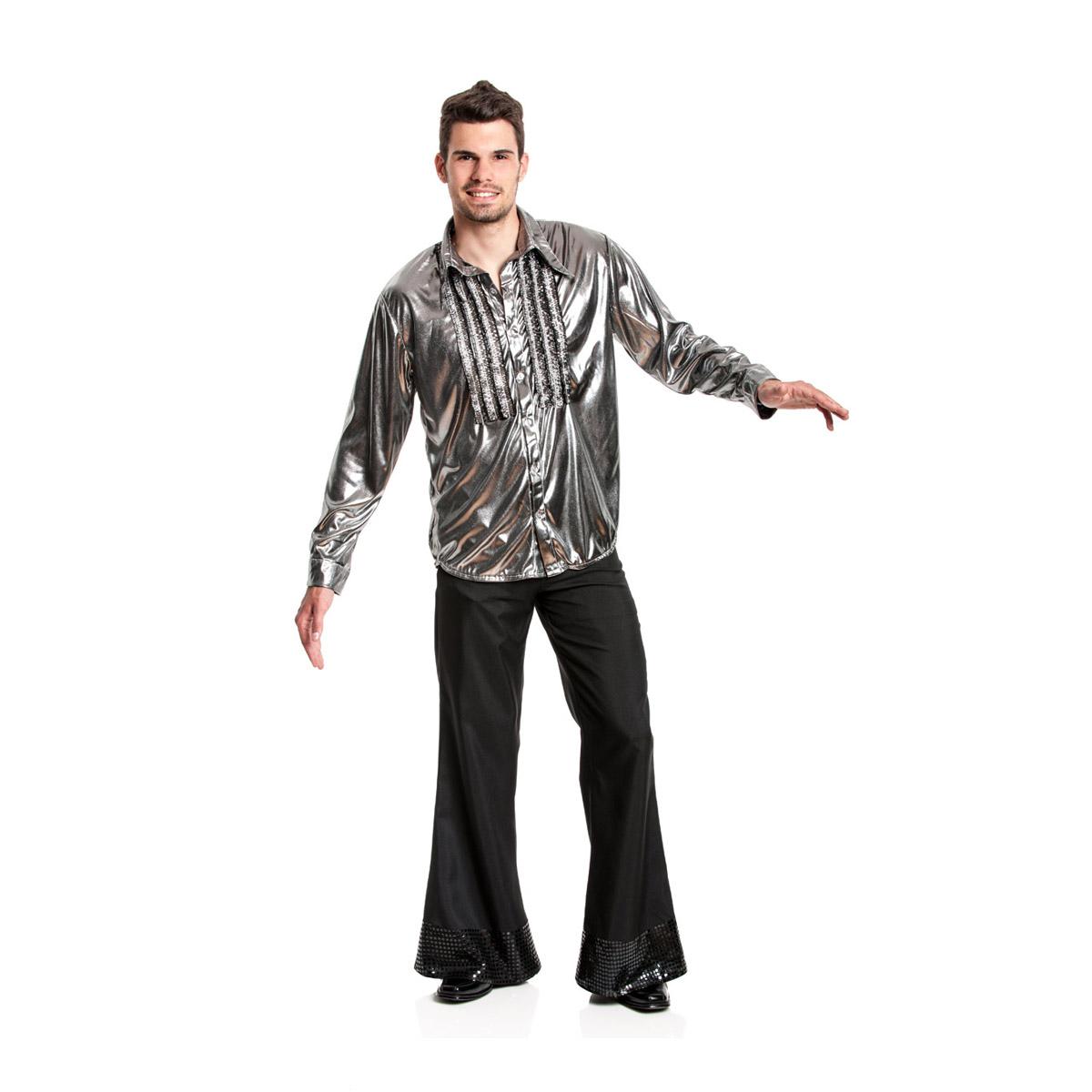 r schenhemd herren silber siebziger jahre disco kost m. Black Bedroom Furniture Sets. Home Design Ideas