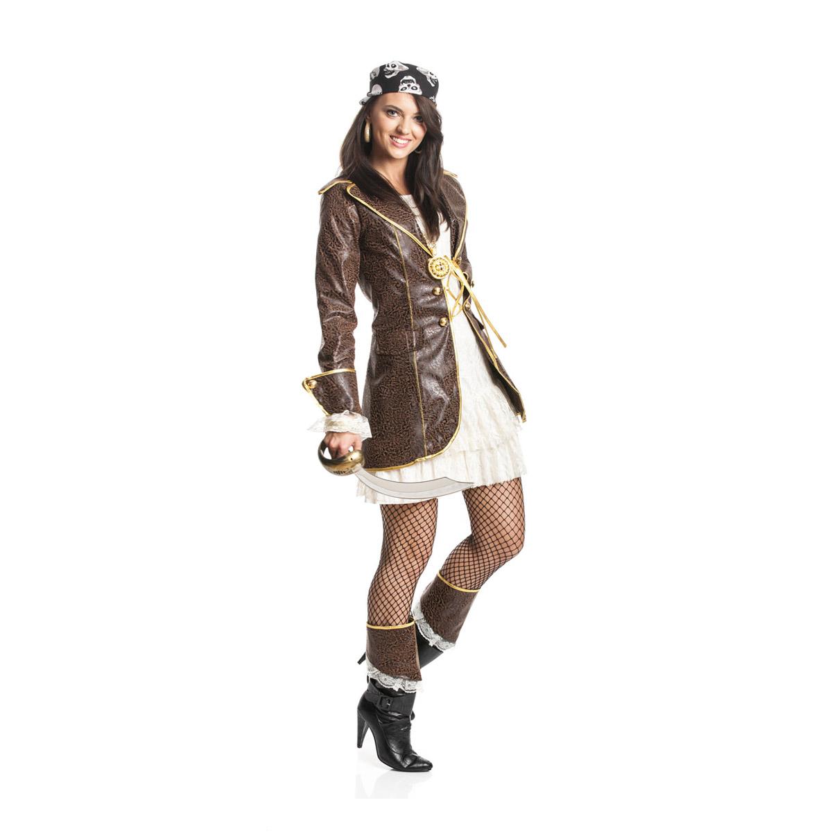 sexy piraten kost m damen kleid mit mantel braun. Black Bedroom Furniture Sets. Home Design Ideas