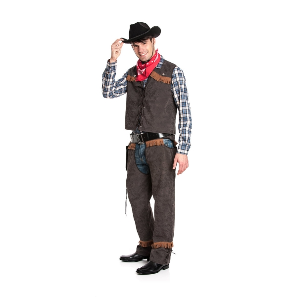 cowboy kost m herren weste mit chaps western style. Black Bedroom Furniture Sets. Home Design Ideas