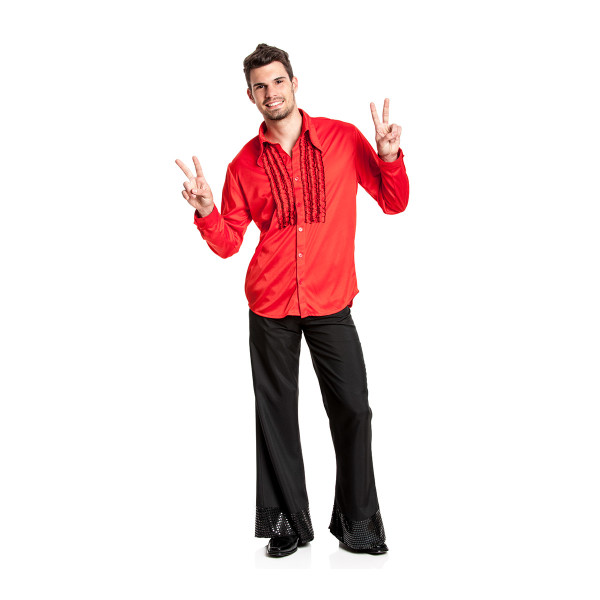 Rüschenhemd Herren rot 52-54