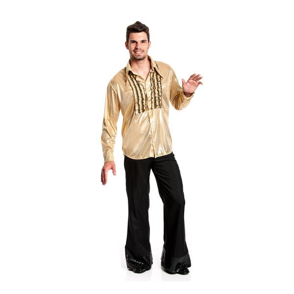 Rüschenhemd Herren gold 52-54