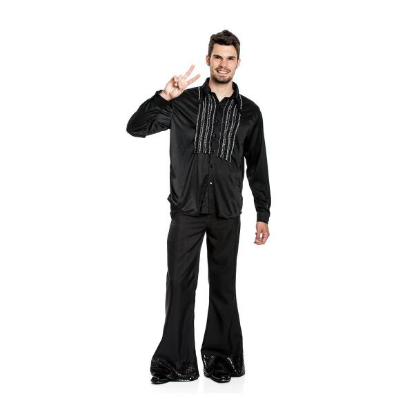 Rüschenhemd Herren schwarz Größe 56-58