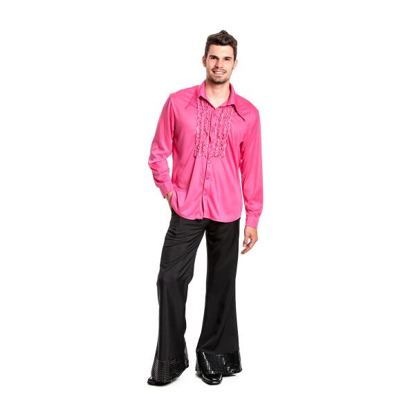 Rüschenhemd Herren pink 48-50
