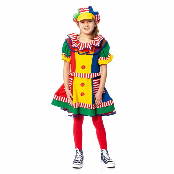 Clown Kostum Kinder Madchen Bunt Komplett Mit Mutze Kostumplanet