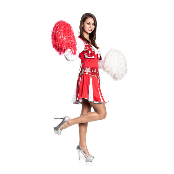 Cheerleader Kleid Damen rot-weiß 36