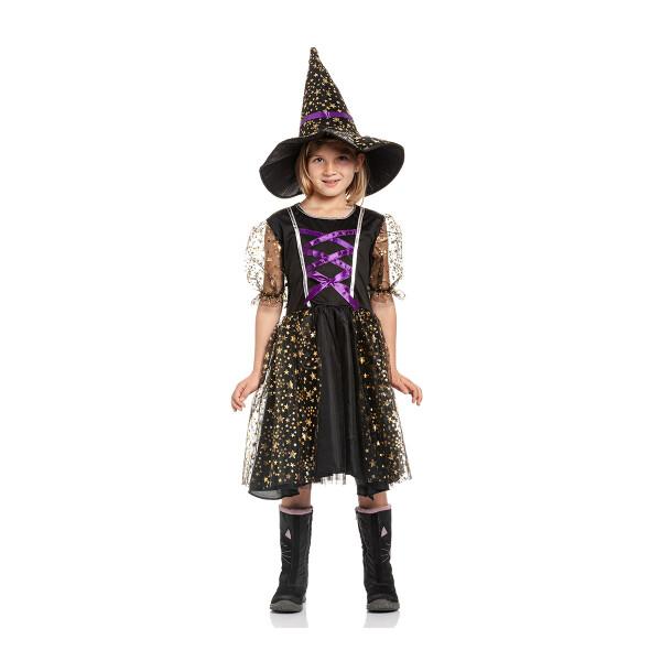 Hexen Kostüm Kinder lila 140