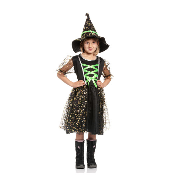 Hexen Kostüm Kinder grün 140