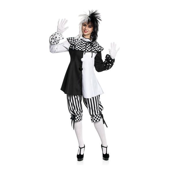Schwarz Weiß zum Kostüm Pierrot Harlekin Ringel Strumpfhose Striped für Damen