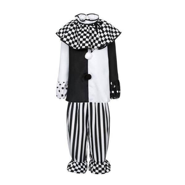 pierrot kostüm kinder schwarz-weiß