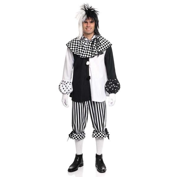 pierrot kostüm herren schwarz-weiß