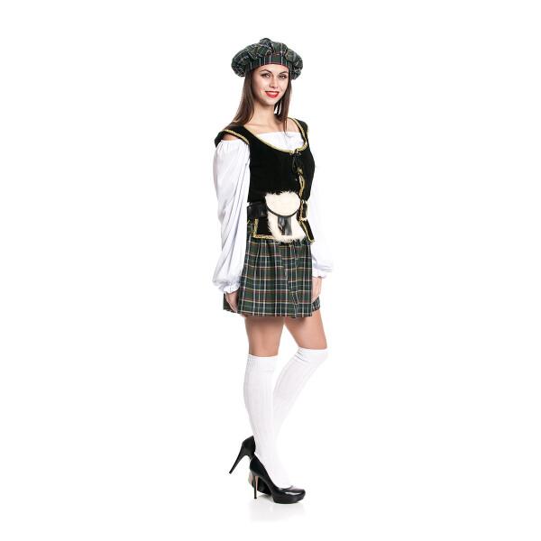schottin kostüm mit schottenrock damen