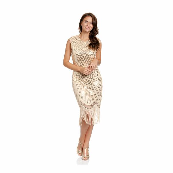 20er Jahre Kleid Damen gold XL