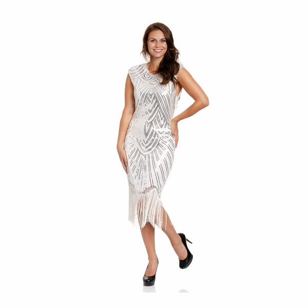 20er Jahre Kleid Damen weiß L