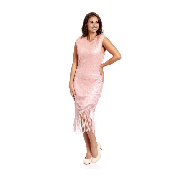 20er Jahre Kleid Damen rosa XL