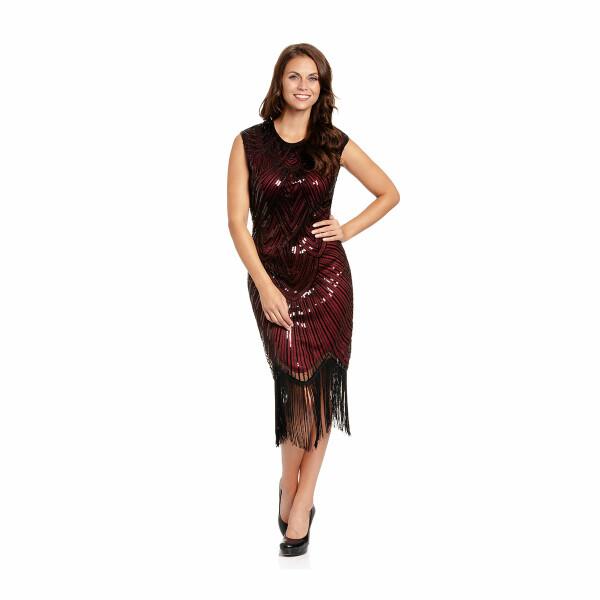 20er Jahre Kleid Damen rot-schwarz L