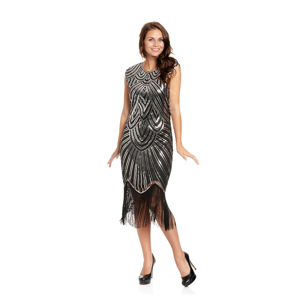 20er Jahre Kleid Damen schwarz-silber M