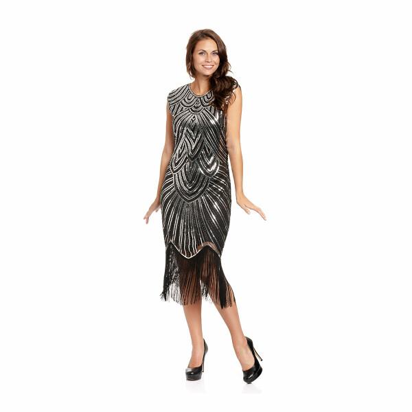 20er Jahre Kleid Damen schwarz-silber L