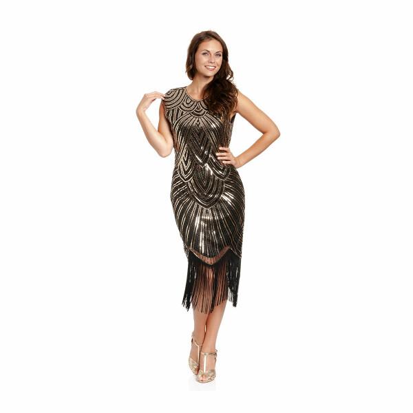 20er Jahre Kleid Damen schwarz-gold L