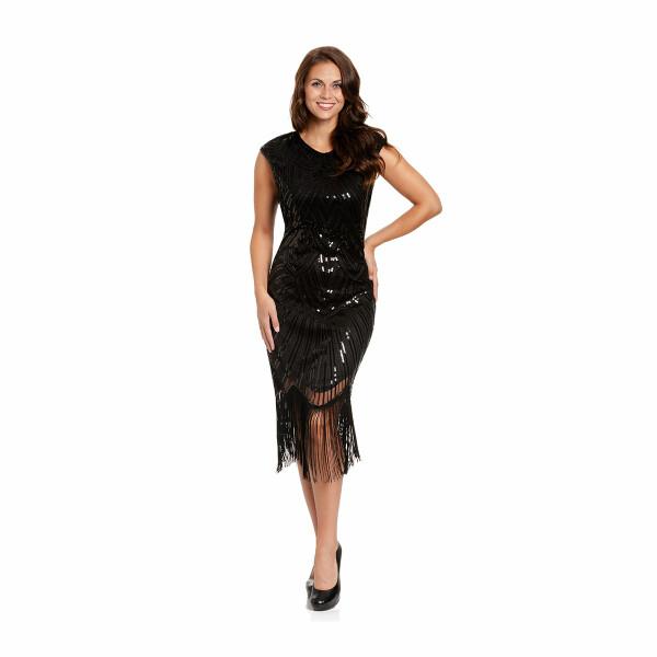 20er Jahre Kostüm Damen Kleid schwarz