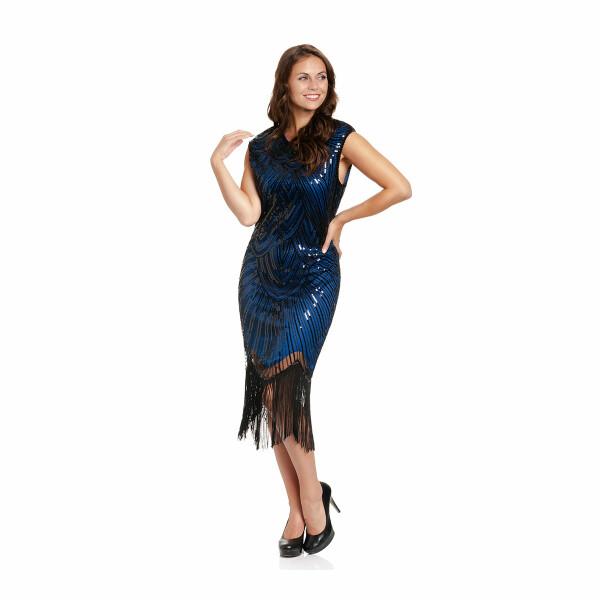 20er Jahre Kleid Damen blau-schwarz S
