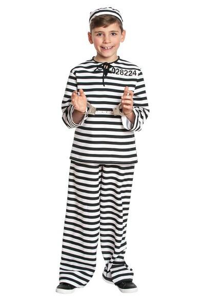 Sträfling Jungen schwarz-weiß 140