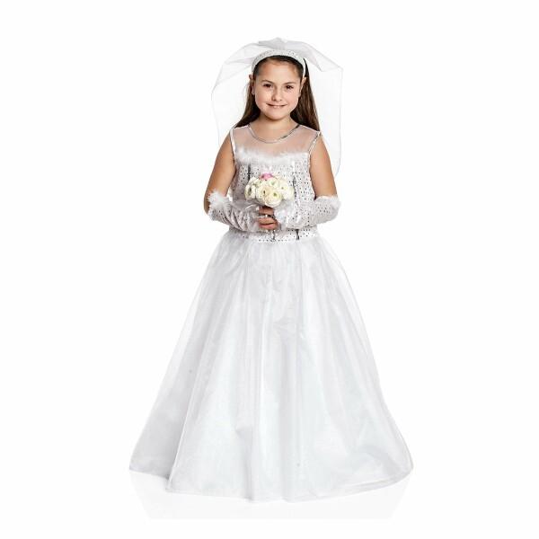 Braut Kostum Mit Schleier Kinder Madchen Traum Weiss Kostumplanet