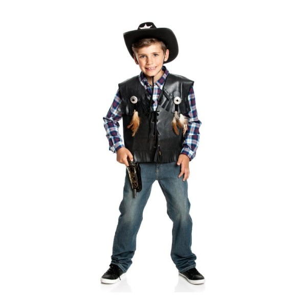Cowboy Weste Jungen schwarz 164